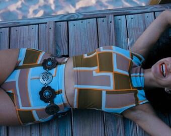 High waisted geometric colour block retro style bikini playsuit xs to xl