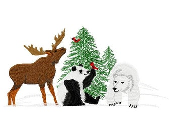 Animal Friends Machine Embroidery Design - Instant Download