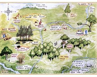 100 Aker Woods- Vintage Version  - Large Map of 100 Aker Woods -  Vintage Art Reproduction-100 Acre Woods