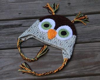 Crochet Owl Hat, Owl Hat, Earflap Owl Hat, Unisex Owl Hat, Crochet Earflap Hat, Handmade Owl Hat, Baby Owl Hat, Owl Costume, Mrs Vs Crochet