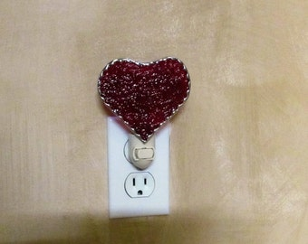 Heart Stained Glass Night Light - Authentic Stained Glass - Scarlet Red Granite Glass - Sweeetheart Gift Idea