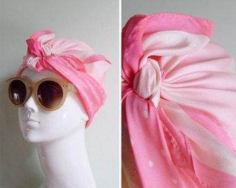 20% CNY SALE - Vintage 60's Flourescent Pink Polka Dots Square Scarf