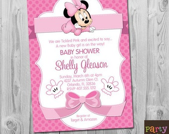 Minnie Mouse Baby Shower Invitation, Printable