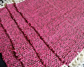 Four Pink with Black Peace Signs handwoven Placemats, Table Mats, Place Setting