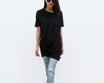 On Sale Size M Casual Lagenlook And Relaxed Pullover Short Sleeve T-shirt Dress Top For Women in Black - NC380-2