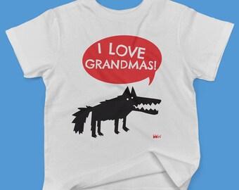 I love Grandmas! in red Big Bad Wolf childrens' organic cotton t shirt