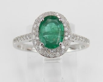 Diamond and Emerald Halo Engagement Ring White Gold Size 7.25 May Birthstone
