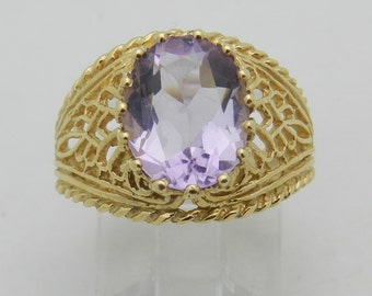 Amethyst Solitaire Engagement Ring 14K Yellow Gold Size 6 Vintage Reproduction