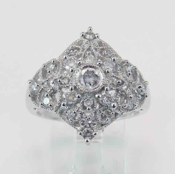 Diamond Cluster Cocktail Ring Filigree Fashion Statement Ring 14K White Gold Size 7.25