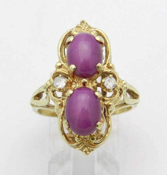 Ruby and Diamond Ring Vintage Estate Ring 14K Yellow Gold Size 7.25