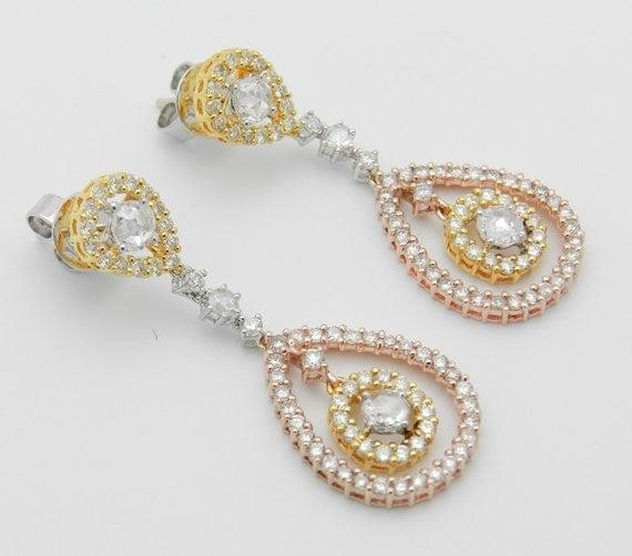 18K Gold Rose Cut and Fancy Canary Diamond Chandelier Dangle Wedding Earrings