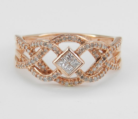 Diamond Ring Anniversary Band Rose Pink Gold Unique Wedding Ring Size 7.25