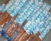 24 Chocolate pretzels, dipped pretzels, chocolate pretzel rods, wedding favors, baby shower favors, Frozen party favor, blue party favors