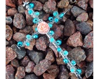 Handmade Beaded Cross with Rose