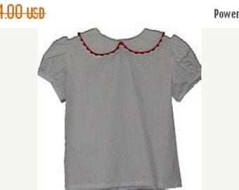 SALE 50% OFF SALE 50 Percent Off Girl White Peter Pan Collar Blouse Shirt- red ricrac trim only