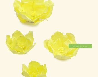 SALE! Yellow Flowers for Wedding Backdrops - Birthday Flower Wall - Nursery Decor - Set of 4