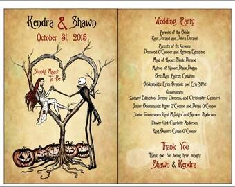 PROGRAMS - Set of Vintage Fall Autumn Halloween Spooky Burton Style Wedding Programs - 75 cents each