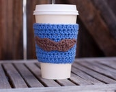Crochet Coffee Cozy - Blue with Brown Mustache