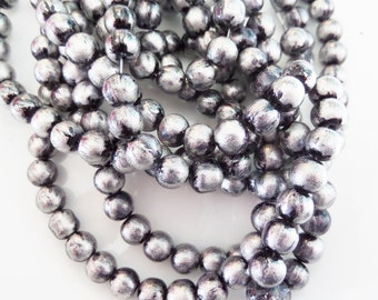8mm Silver and Black Glass Beads, 20CT. Round Beads, S33