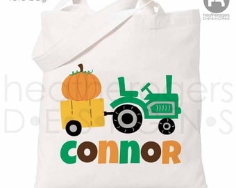 Personalized Trick or Treat Bag - Personalized Pumpkin & Tractor Bag - Personalized Halloween Bag