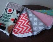 Baby Girl Washcloths - Girl Wash Cloth Set - Kawaii Sushi - Green and Pink - Soft Wash Cloths - Cotton Washcloths