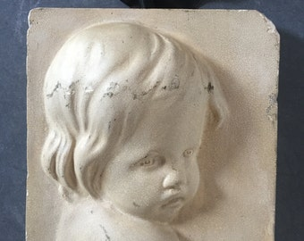 Vintage chalk / plaster wall plaque.