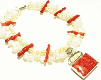 Sponge Coral Necklace, Natural Coral Necklace, Pearl Necklace, Freshwater Necklace, Coral Pendant