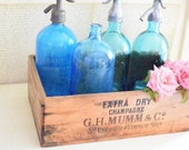 Vintage French Seltzer Bottle in Turquoise Blue