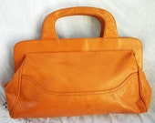 Vintage Purse ~ Handled Clutch ~ Orange / Brown ~ Joseph Magnin ~ 1970's 1980's era