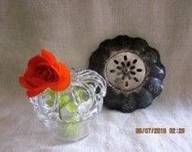 Choose Your Favorite Fancy Flower Frog Vintage Flower Frog Handblown Glass Victorian Pierced Silver