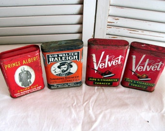 4 Pipe & Cigarette Tobacco Tins /Velvet Tobacco Tin / Sir Walter Raleigh Tin / Prince Albert Tin