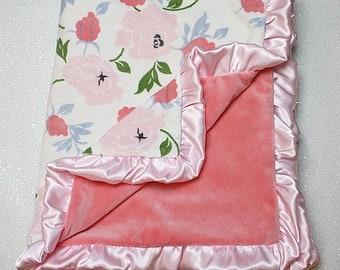 Floral minky, coral minky, baby girl minky,Adult minky blanket, baby gift, floral blanket, pink blanket, baby girl blanket,