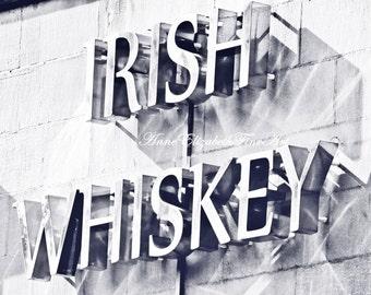 Ireland Photography, Irish Whiskey, Pub Art, Bar Art, Dublin, Travel Art, Whiskey Sign, Irish Kitchen,Black & White, Dorm Decor, Bar Decor