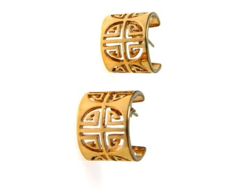 Gold over Sterling Huggy Hoop Earrings Longevity Symbol