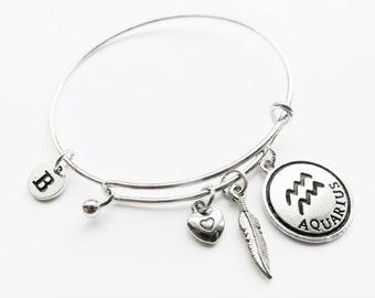 Aquarius Charm Bangle, Aquarius Silver Charm Bracelet, Aquarius Charm Bracelet, Adjustable Aquarius Charm Bracelet, Personalized Initial