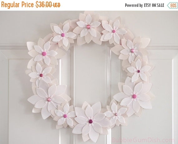 50% OFF SALE Spring Wedding Wreath Vellum Paper Flowers 12 inch
