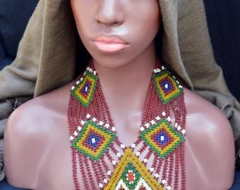 Vintage Afghanistan Kuchi Tribal Beaded Bib Necklace Fringe Hippie Boho Gypsy Belly Dance Uber Kuchi®