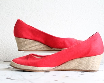 Vintage Red Canvas Wedge Heels-Women's Size 7 1/2 to 8-1980s