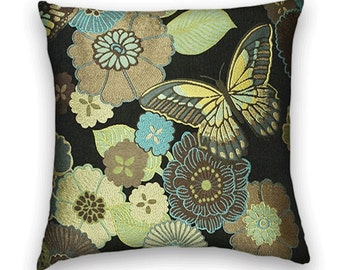 Black Green Blue Abstract Floral Throw Pillow Cover- Decorative Accent Pillow Cover 18x18 or 20x20 or 22x22