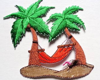 palm tree with hammock orange iron on patch
