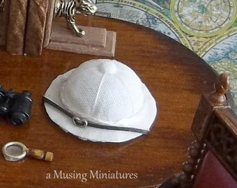British Empire Pith Helmet in 1:12 Scale for Dollhouse Miniature Archaeology or African Safari