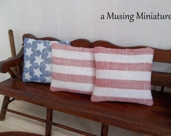 NEW Americana Faded Pillow Set in 1:12 Scale for Dollhouse Miniature Country Cottage or Fourth of July