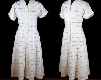 1950s Dress // Ivory Polished Cotton Lace Rose Dress