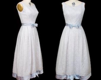 1960s Dress // Ice Blue Chiffon Over White Lace Formal Dress