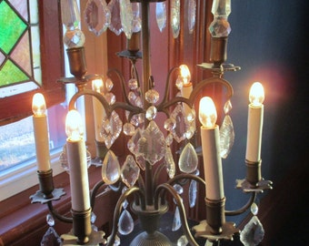 SALE Antique French Girandole Bronze 6 Light Crystal Drops Prisims Marble Base Estate Find Stunning Lamp