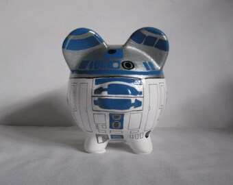 Personalized, Handpainted, R2D2 Piggy Bank - White w/Silver & Victorian Blue Outlines - MADE TO ORDER