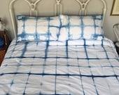 Shibori Block Duvet Cover and Pillow Case Set-King Size Free postage WORLDWIDE...
