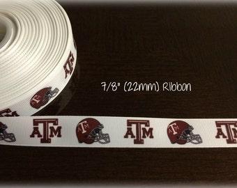 Texas A&M 7/8 inch Grosgrain ribbon