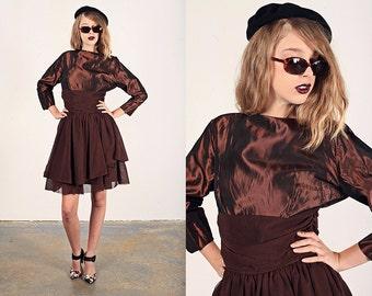 Vintage 50s Party Dress Brown Taffeta Ruffle Formal Dress