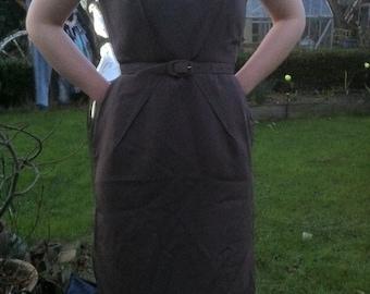 1950s Brown Garbedine Wiggle Dress with Belt